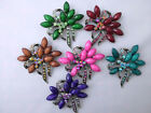 LADIES BROOCH. CRYSTAL AND COLOURED BOUQUET BROOCH IN 6 COLOURS (927)