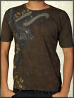Monarchy Eagle Medieval Script Banners Filigree Leaves Mens T-Shirt Brown NEW S