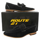 Mens New Black Leather Lined Slip On Suede Moccasin Shoes With Fringed Tassels