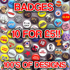 Mixed Button Pin Badges. Adult Designs Novelty Cheap Clearance Stock