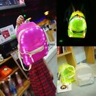 LED Student Women's Backpack Girl School PVC Shoulder Rucksack Travel Bookbag JO