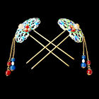 Exquisite Colorful Enamelled Natural Agate Stone Hollow LacyGolden Hair Pins Set