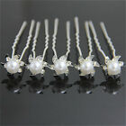 20/80 Clear Crystal With Pearl  Flower Bridal Wedding Prom Party Hair Pins Clips