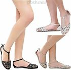 New Women IB16 Black Taupe Rhinestone T-Strap Mary Jane Ballet Flats 6 to 10