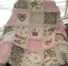 Baby Girl Rag Quilt ~ PINK, brown and beige toile and cradle flannel