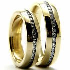 Yellow Gold Plated CZ Woman's Man's Engagement Wedding Bridal Solitaire Ring Set