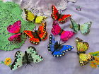 Butterfly feather hairclips pink red lilac blue aqua orange white yellow pastel