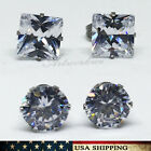 1 PAIR Round/Square Cubic Zirconia for Mens/Womens Stainless Steel Stud Earrings