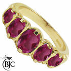 BJC® 9ct Yellow Gold Victorian / Gypsy Style Graduating Pink Topaz 5 Stone Ring