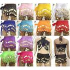 Внешний вид - Chiffon Belly Dance Hip Scarf 3 Rows Belt Skirt Gold/Silver Coins for KIDs Girls