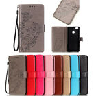 Lanyard Card Holder Leather Flip Wallet Case Cover Floral For Huawei P8/P9 Lite