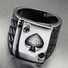 Ace of Spades Playing Card Gambling Stainless Steel Biker Ring