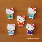 Cat with Bow Wood Buttons Multicolor Cute Cartoon Beads Sewing Knit Craft DIY