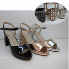 WOMENS LADIES BLOCK HEELS BEACH SUMMER PARTY FANCY SANDALS ANKLE SHOES SIZE
