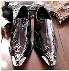 Chic Men's Party Formal Business slip on Leather Metal Pointed toe Dress shoes