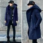 Korean Fashion Mens Hooded Winter Warm Parka Coat  Long Double Breasted Jacket