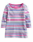 *BNWT* Joules Girls Pickle 3/4 Sleeve Top T-Shirt Navy Pink Multi Stripe Soft