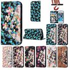 Bling Flowers Flip Leather Wallet Strap Card Stand Cover Case For Apple iPhone