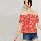 New sexy women off shoulder red flower prints flouncy sleeve blouse top s-2xl