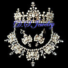 Pearls & Colourful Austria Crystal Rhinestones Neklace & Earring & Crown/Tiara
