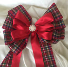 """Bouquet, Xmas, Chair Sash, Large 7"""" Tartan Ribbon bow with tails jeweled centre"""