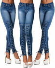 Sexy Women's Stretchy Blue Jeans Trousers Skinny Slim With Front Corset F 988