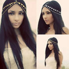 Hippie Retro Women Metal Rhinestone Chain Jewelry Headband Head Piece Hair band
