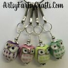 Handcrafted Wire Wrapped Zipper Pull Beaded Charm ~ Hand Painted Ceramic Owls