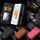 Portable Magnetic Detachable Card Zipper Wallet Case Cover For iPhone Samsung