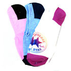 CONVERSE NEW Women's No Show 3 Pack Socks Pink/White/Blue BNWT