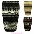 Ladies Womens Fairisle Mini Knited Stretch Pencil Snowflake Bodycon Skirt Dress