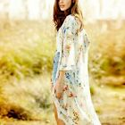 1x Retro Floral Printed Women Boho Coat Kimono Blouse Chiffon Tops Long Cardigan