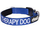 THERAPY DOG Blue Collar Snap Buckle Padded Color Coded High Strength S M L XL