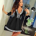 Women Summer 3/4 Sleeve Deep V-Neck Casual Evening Party Short Mini Lace Dress