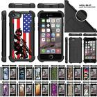For Apple iPhone 7 Case Dual Layer Hybrid Grip Bumper Defender Kickstand Cover
