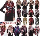 Women Oversized Tartan Plaid Blanket Scarf Large Checked Wrap Shawl Zara Styles