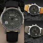 Fashion Unisex Casual Military Gray Men Leather Analog Alloy Case Wrist watch