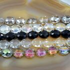 Clear Black Faceted Czech Glass Crystal Flat Oval Beads 9x12mm 12x16mm 16x20mm