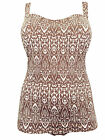 Ladies NEW Neckermann BROWN TRIBAL SWIMSUIT DRESS Wide detachable straps