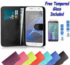Wallet Flip Leather Book Cover Case For Samsung Galaxy J3 2016 + Tempered Glass