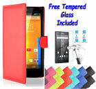 Wallet Flip Leather Book Cover Case For Sony Xperia Z3 Compact + Tempered Glass