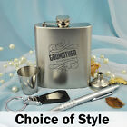 Godmother Engraved Silver Flask Gift Set - Add a Name & Message