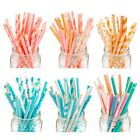 25X Stripe Dot Paper Drinking Straws Baby Shower Birthday Party Decor Baptism