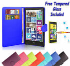 Wallet Flip Book Leather Cover Case Holder For Nokia Lumia 535 + Tempered Glass