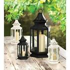 Victorian Iron Pillar Candle Lantern 6 Sided Clear Glass Panels Side Door