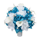 "10"" Bouquet with Silver Accents - White and Choose Secondary Color - Artificial"