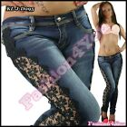 Womens Jeans Ladies Skinny Lace Jeans Casual Trousers Hipsters Size 6,8,10,12,14