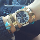 Lace Print Watch Women's Ladies alloy Leather Strap Band Watches White/Black