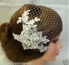 White/Ivory Lace Pearls birdcage veil Bridal Blusher veil wedding vail with comb