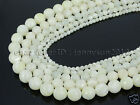 Natural White Mother Of Pearl MOP Shell Faceted Round Beads 16'' 4mm 6mm 8mm